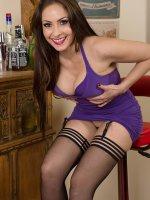Sophia Delane - 31 year old Sophia delane slips off her purple elegant dress in here