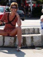 Shameless mature women flashing right in a town
