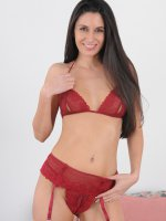NikkiDaniels - 32 year old Nikki Daniels in red lingerie showing off a hairy pussy