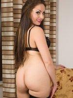 Sophia Delane - Beautiful brunette Sophia Delane pulling her mature pink pussy wide