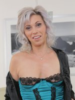 Kathy White - 39 year old Kathy White from AllOver30 squatting on her rubber friend