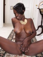 Sayanna Monroe	Ebony MILF Sayanna Monroe slips off her elegant dress to spread