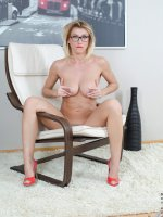 Rita - Medium Boobs, Landing Strip Pussy, Blonde, Long hair, Bras, Panties, High Heels, Glasses, Mini Skirt,