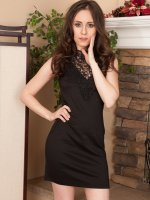Vianna Lovely - Petite 30 year old Vianna Lovely slips out of her black evening dress