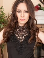 Vianna Lovely - Petite 30 year old Vianna Lovely slips out of her black evening dress
