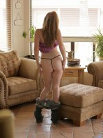 Milf next door shows off big tasty titties and red headed snatch