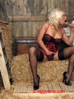 Surprising a barn boy with my sexy lingerie
