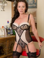 Marlyn - Beautiful brunette Marlyn from AllOver30 slips out of her elegant dress