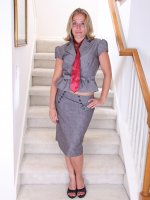 Mature amateur Sky strips naked on the stairs after work.
