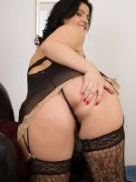 Montse Swinger - Cute 36 year old brunette Montse Swinger spreads her lacey legs