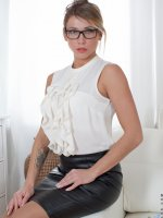 Rita - Medium Boobs, Landing Strip Pussy, Blonde, Long hair, Bras, High Heels, Glasses, Mini Skirt, Natural,