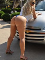 Two sluts get wet on a customer's car