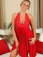 ShylaBlonde and Elegant looking Shyla slips off her red evening dress