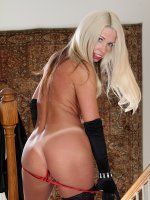 Tan lined cougar Meredith naked in black stockings.