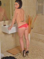 Roxanne Cox - Cute 34 year old brunette Roxanne Cox opens her legs and smiles