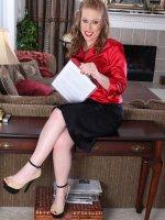 Amber Carlisle - Cute blonde 31 year old steno Amber Carlisle gets naked at the office