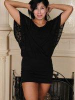 Estrella Jane - Exotic 43 year old Estrella Jane slips off her black elegant dress