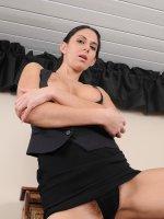Nikki Daniels - 32 year old office MILF Mikki Daniels spreading wide at her desk