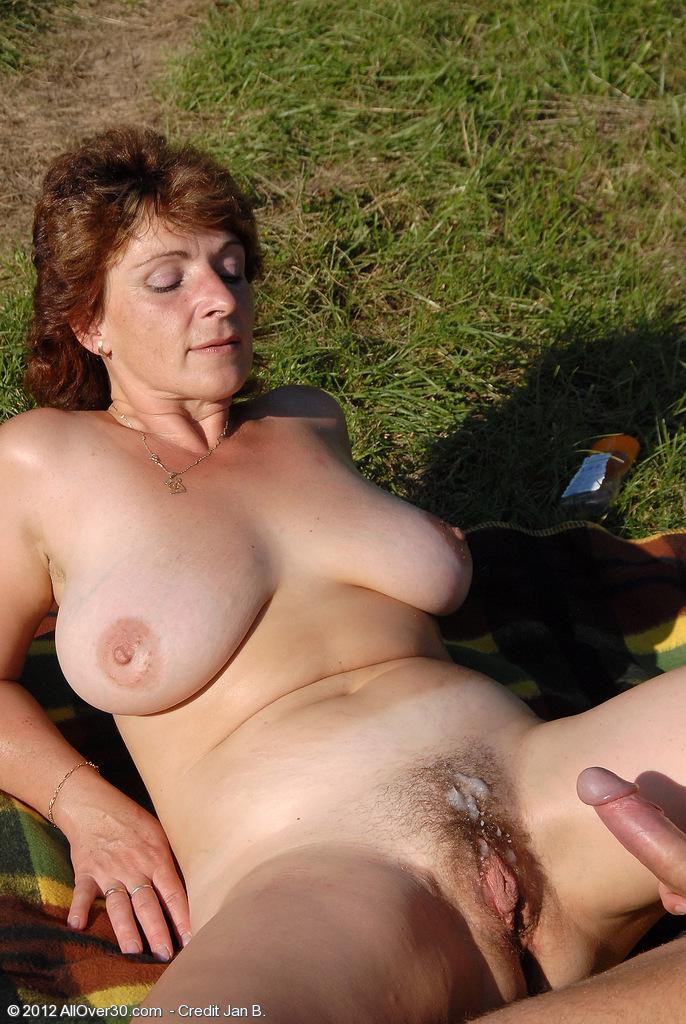 Horny blonde mature riding her bbc dildo