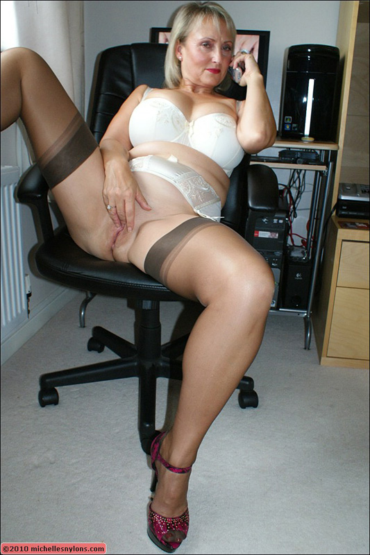Milf michelle fucks herself at the office