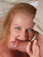 Old mature tart and her older hubby are having dirty sex intercourse in their kitchen