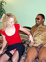 Slutty MILF Cathy sucking and getting her hole fucked hard by big black dong