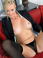 Sexy office MILF Camryn undressing, showing sweet shaved pussy and fucking her ass with dildo