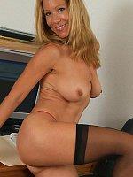 blonde high heels milf office stockings