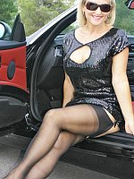 ass big tits blonde car high heels milf outdoors stockings