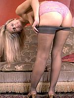 blonde high heels milf pantyhose