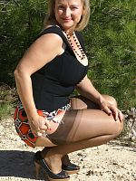 ass big tits blonde high heels milf outdoors stockings