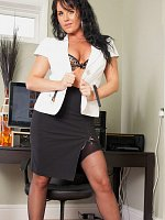 Cute secretary MILF gets horny in the office
