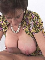 big tits blowjob brunette high heels milf short hair titjob