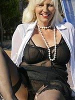 big tits blonde high heels mature stockings swimming pool wet