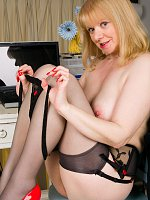 blonde high heels mature office stockings