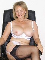big tits blonde high heels milf office stockings