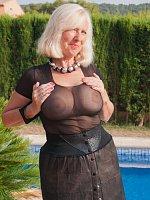ass big tits blonde high heels mature stockings swimming pool wet