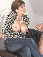 big tits brunette handjob high heels milf short hair