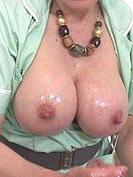 big tits blonde brunette handjob milf oiled short hair threesome titjob