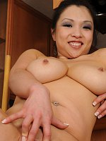 Busty asian housewife washes floors completely naked