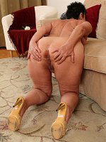 ass big tits brunette doggy style granny high heels short hair