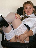 ass big tits blonde high heels milf office shaved pussy