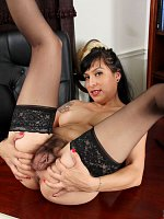 Betty Jones - Medium Boobs,Hairy Pussy,Black Hair,Long hair,Bras,Masturbation,Thongs,Uniform,Mini Sk