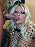 Wearing a fishnet suit Lana takes control of her man and gives him the time of his life