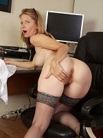 Lexa Mayfair, Horny blonde secretary Lexa Mayfair pulls open her box on the desk