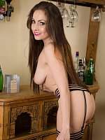 Sophia Delane - 31 year old Sophia delane slips off her purple elegant dress in here